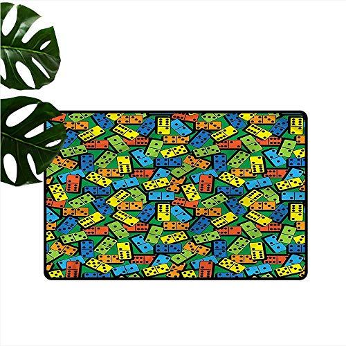 (HOMEDD Dog Doormat,Casino Colorful Retro Domino Bricks,Super Absorbs Mud,24