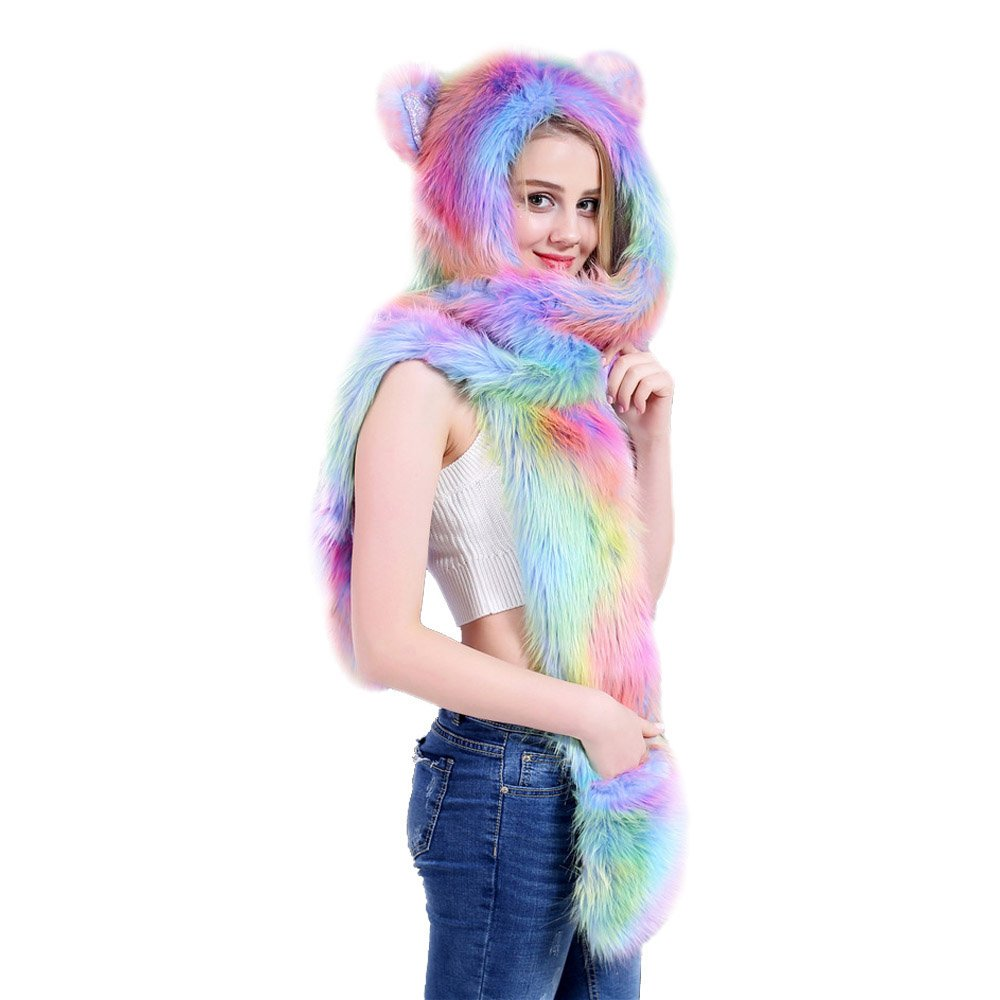 a5e2f763685 Amazon.com  3 in1 Animal Artificial Fur Hat Colourful Headwear Warm Earflat  Cap One Piece Hat Girlfriend Gifts (A)  Clothing