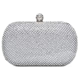 Chichitop Evening Bag Full Crystal Hard Case Wedding Prom Formal Clutch Handbag Purse for Women,Silver