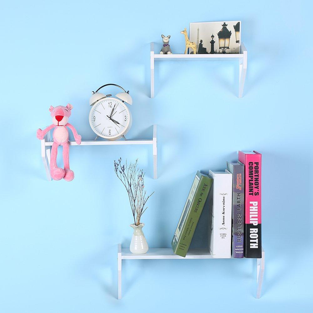 Add One 1 Floating Shelves White Wall Mounted Decorative Set Shelf Of 3pcs