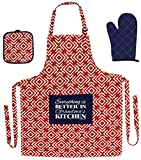 Christmas Gift for Grandma Everything is Better in Grandma's Kitchen Funny Aprons 3-piece Cooking Apron Set with Oven Mitt and Pot Holder Funny Apron Red Greek Square