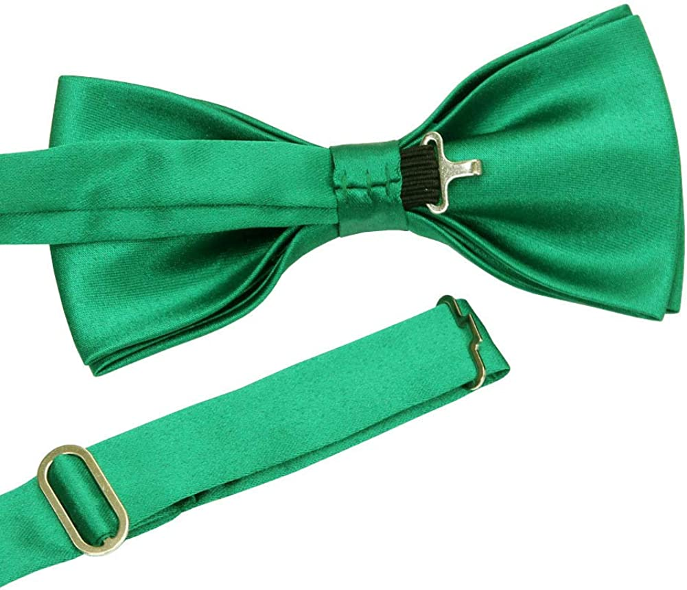 ST34 Brand New Silk Feel Satin Solid Color Pre-tied Bow ties for Men-Various Colors