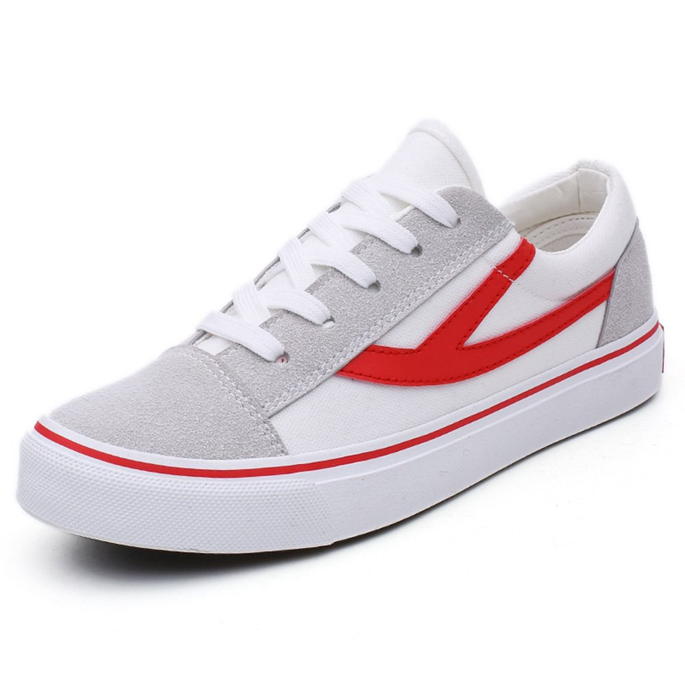 Womens Red White White Canvas Lace up Style Skate Shoes Walking Comfortable Low Top Fashion Sneakers
