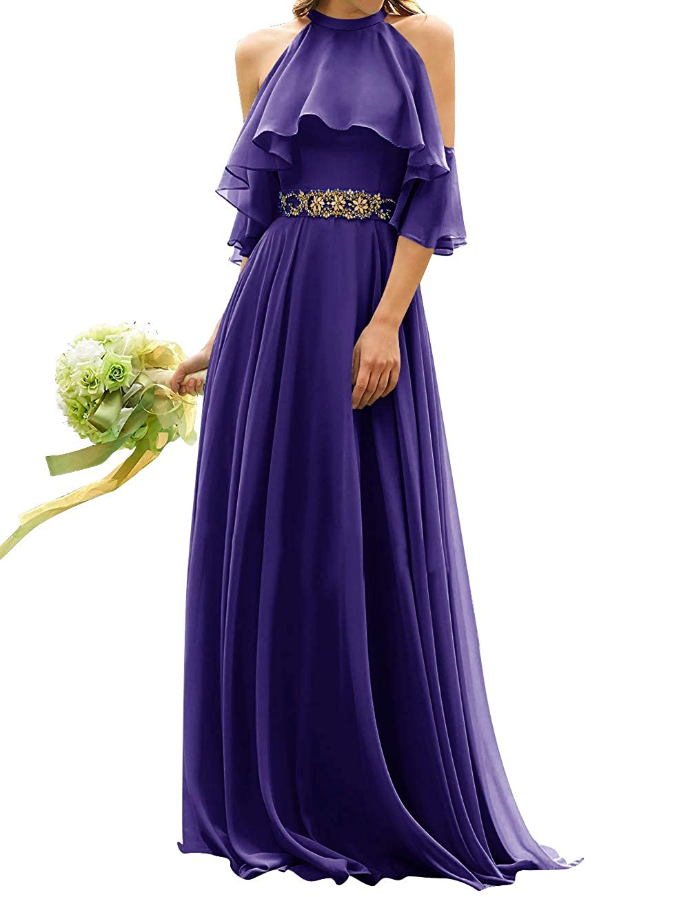 Regency Uther Long Bridesmaid Dress Cold Shoulder Beaded Ruffle Sleeves Wedding Party Dresses