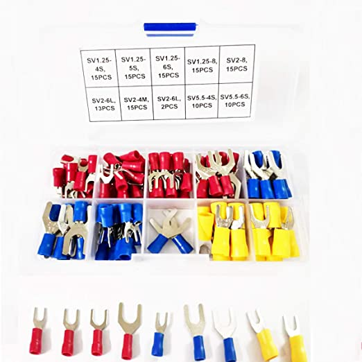 uxcell/® 10Pcs AWG12-10 U Shape SV5.5-6S Insulated Spade Wire Crimp Terminal Connector Yellow