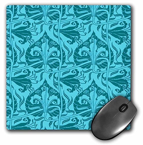 Nouveau Lily - 3dRose Russ Billington Patterns - Walter Crane Art Nouveau Lily Pattern in Aqua - Mousepad (mp_219075_1)