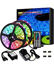 Led Lights, Led Strip Lights,10M 300 LEDs 5050 RGB Rope Lights, IP20 Non Waterproof Color Changing with 20 Colors 8 Light,with 44 Keys IR Remote Controller and 12V Power Supply