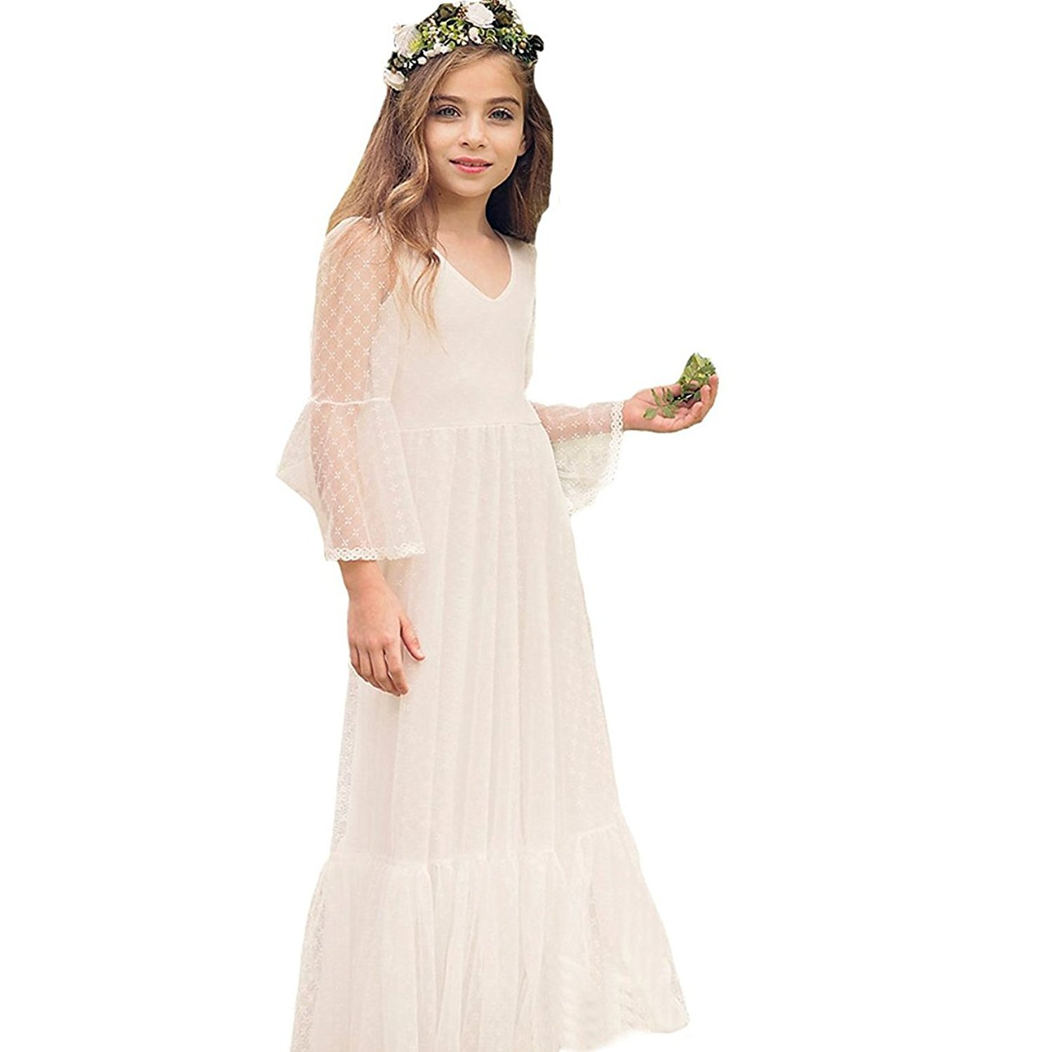 072525848d9 Amazon.com  Sittingley Boho-Chic Flower Girl Dress Lace First Communion  Dresses  Clothing