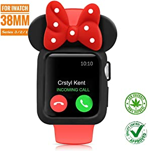 SEANADO 38mm Apple Watch Case, Unity Series Premium Protective Bumper Case Compatible iWatch Series 3, Series 2, Series 1 Newest Released(Black-Red)