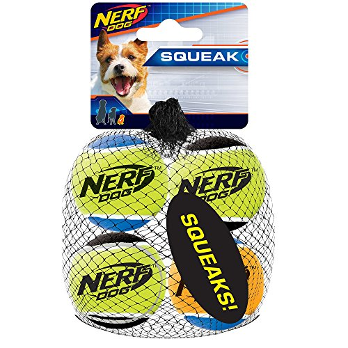 Nerf Dog 1.75in Squeak Tennis Ball 4-Pack: Blue/Green Blue/Orange and Green/Black, Dog Toy