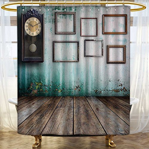 Anhounine Clock Shower curtains Fabric A Vintage Clock and Empty Picture Frames in an Old Room Wooden Backdrop Print Bathroom Decor Sets with Hooks 48''x72'' Green and Brown by Anhounine