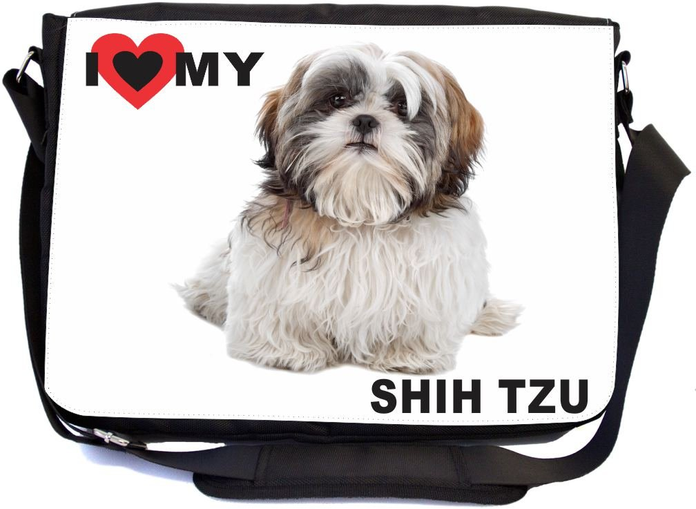 Rikki Knight I Love My White Brown Shih Tzu Dog Design Multifunctional Messenger Bag - School Bag - Laptop Bag - with Padded Insert for School or Work - Includes Matching Compact Mirror