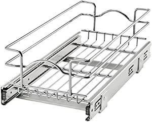 Rev-A-Shelf 5WB1-0918CR-1 9 Inch x 18 Inch Single Wire Basket Pull Out Shelf Storage Organizer for Kitchen Base Cabinets, Silver