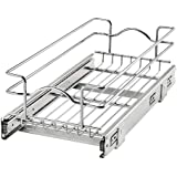Rev-A-Shelf 5WB1-0918CR-1 9 Inch x 18 Inch Single Wire Basket Pull Out Shelf Storage Organizer for Kitchen Base Cabinets…