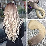 Moresoo Ombre Human Hair Clip in Extensions Ash color Ash Blonde Fading to Bleach Blonde 14 Inch Clip in 100 Human Hair 120g/7 Pieces