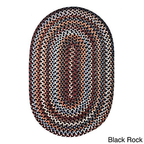 Rhody Rug Augusta Oval Braided Wool Rug by (2' x 3') Black Rock