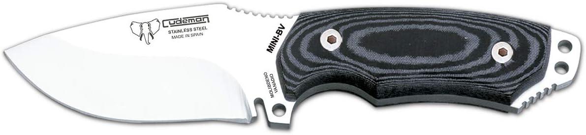 Hoja de 9 cms Herramienta de Camping para Pesca y Caza Cudeman Cuchillo Deportivo 115-B-K Mini Boina Verde con Mango de micarta Funda kydex Tarjeta Multiusos de Regalo Actividad Deportiva