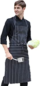 geranjie New Men And Women HotelRestaurant Cafe Hanging Neck Striped Apron Female Attendant Cotton Work Clothes LOGO Image