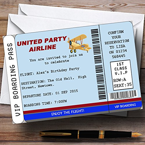 Blue Vip Plane Boarding Pass Ticket Theme Personalized Birthday Party Invitat.