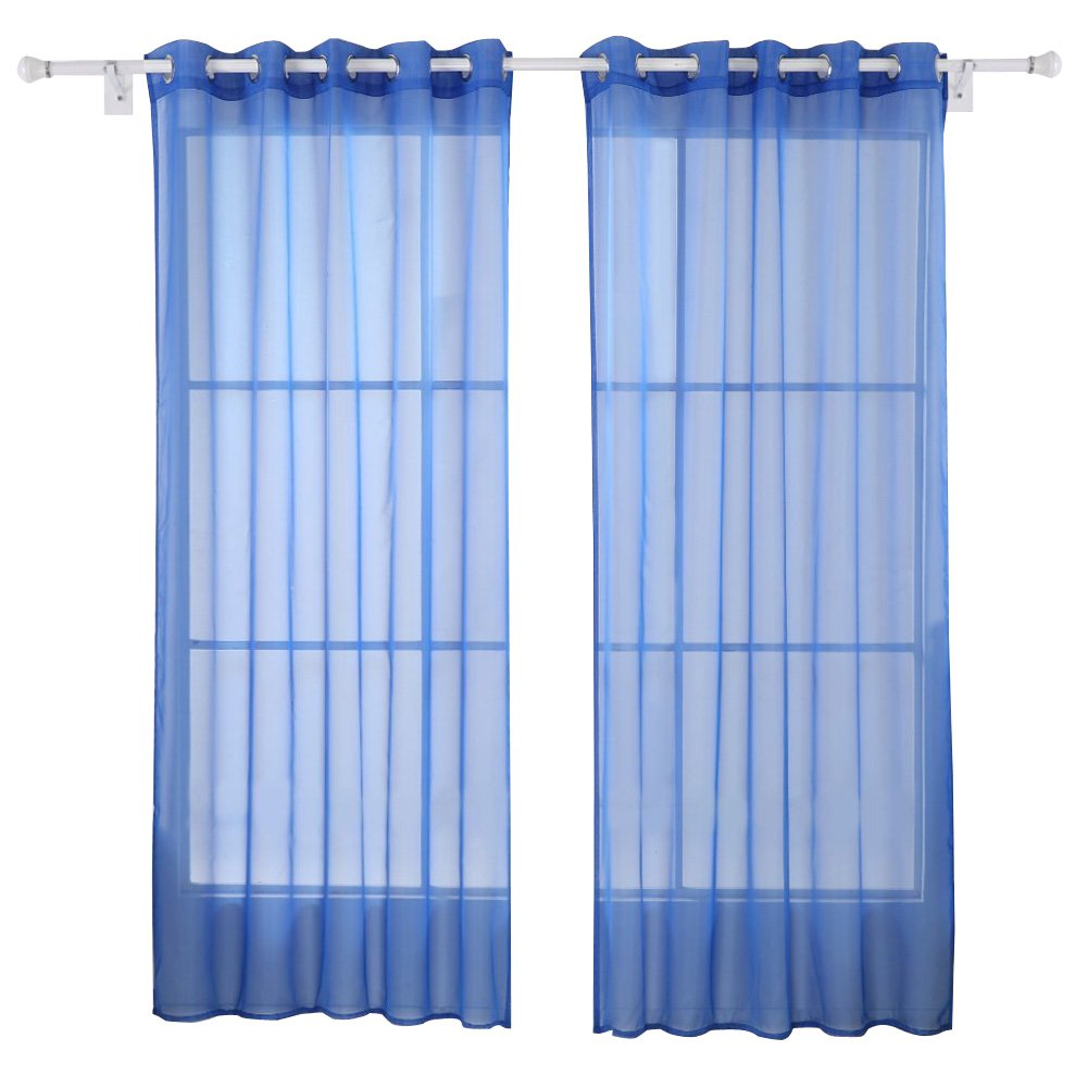 Deconovo Home Decorations Sheer Voile Curtains Grommet Curtains Delicate Sheer Drapes Voile Curtains Royal Blue