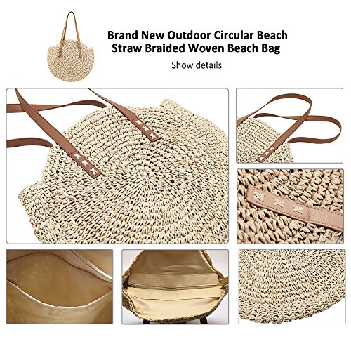 Summer Handbag Outdoor Travel Sling Beach Woven Round Women for Beige Straw Bag Shoulder Crossbody Purse Bag Bag SYCqwFAR
