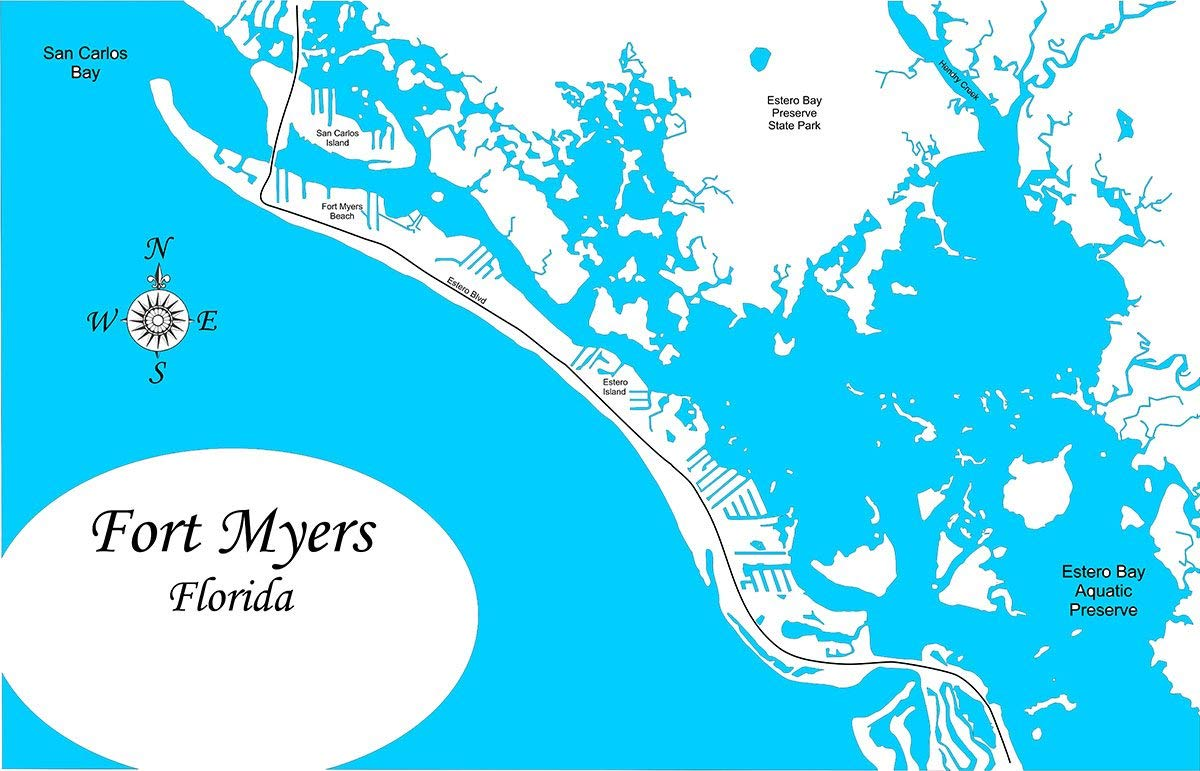 Fort Myers Beach Florida Map Amazon.com: Fort Myers Beach, Florida: Framed Wood Map Wall