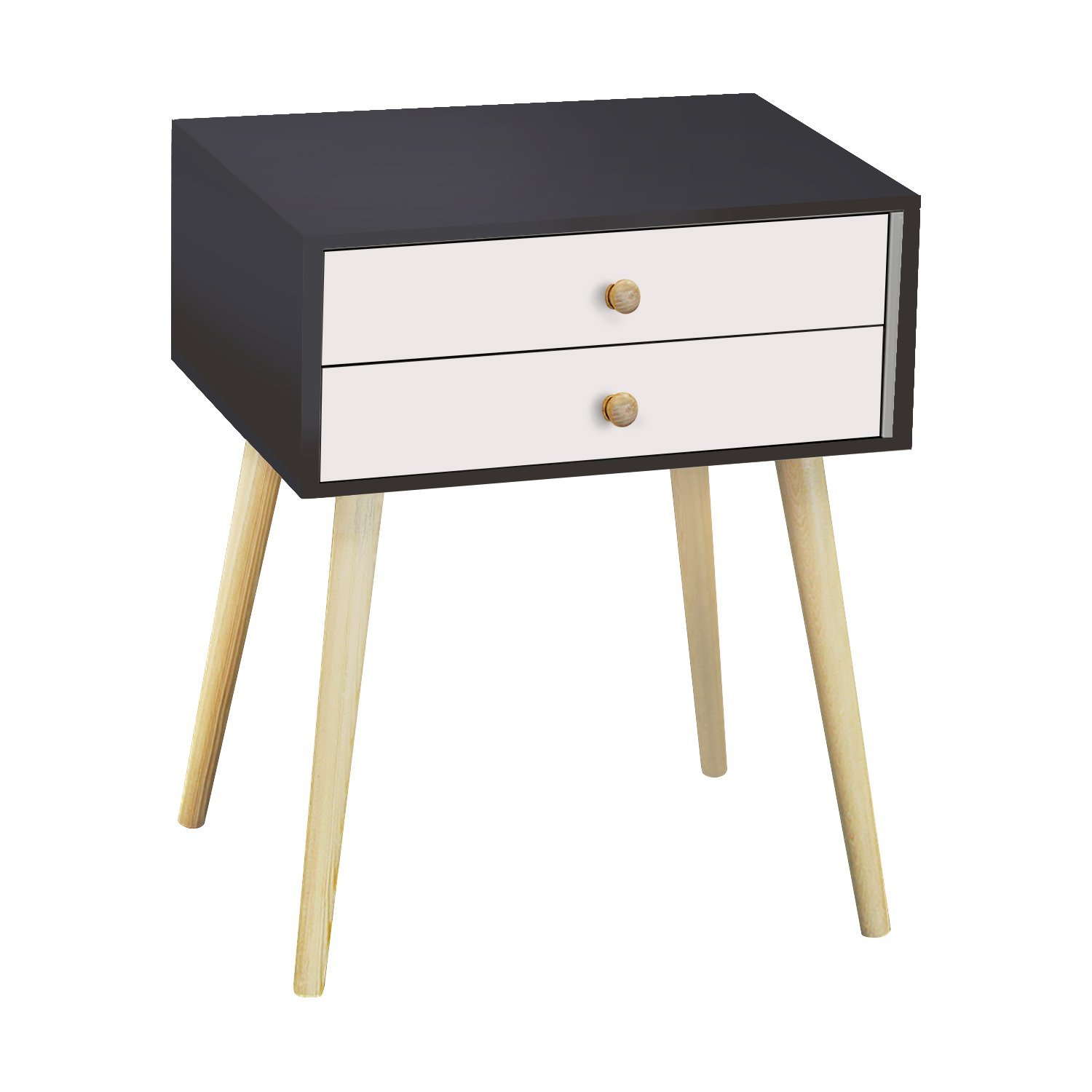 Jerry & Maggie - Nightstand Modern Fashion 4 Thin Long Legs Space Station - 2 Tier Cubic Night Stand Storage Bedside Table with 2 Drawer Real Natural Paulownia Wood | Navy & White