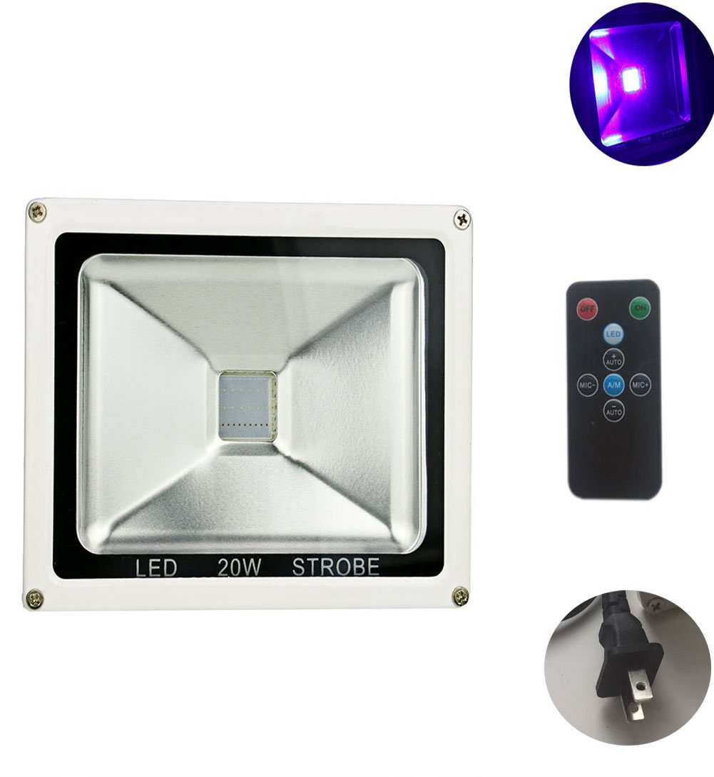 UV Led Light Blacklight 20W Ultraviolet UV Strobe Lights with Remote Auto Lighting Vioce Control Waterproof for Neon Glow Blacklight Parties Stage Light Fishing, Aquarium, Curing by Apatner (Image #4)