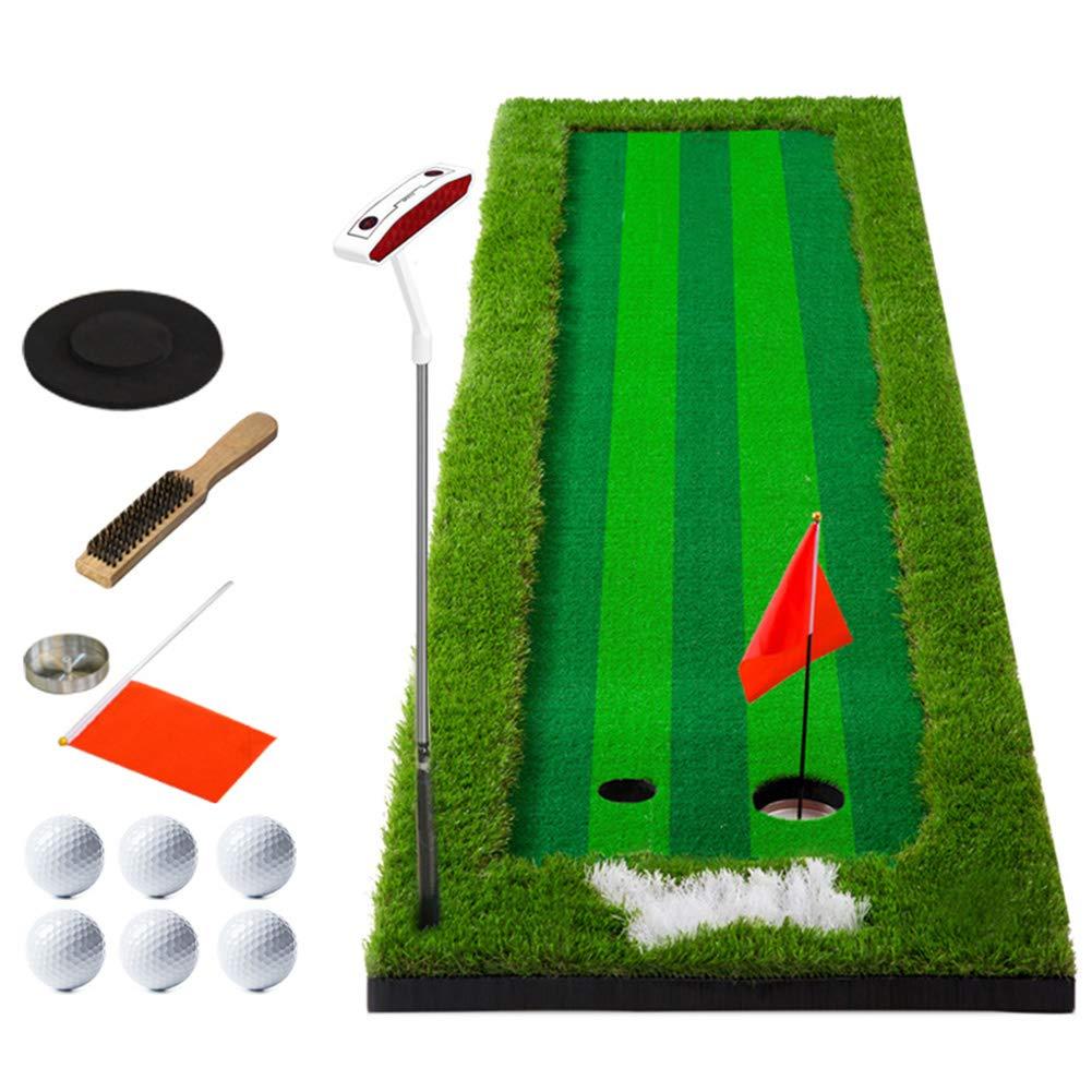 ゴルフパッティングマットポータブルボールとパター付き、屋内ゴルフトレーニングマットパッティンググリーンシステムプロゴルフ練習用マット、ロング(2.5ftx10ft)   B07L8HB39D