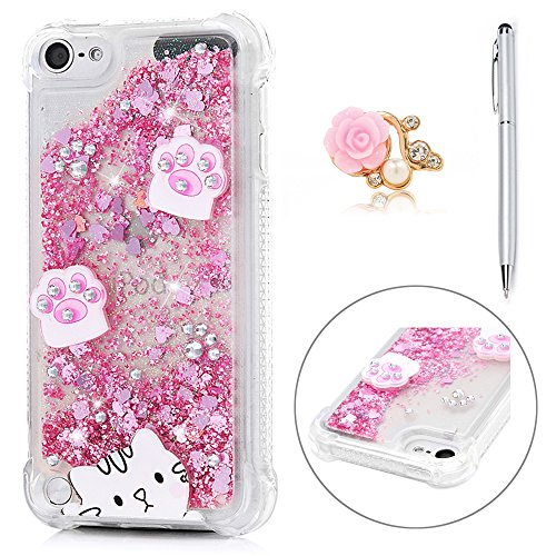 iPod Case, Touch 5 Quicksand Case 3D Bling Shiny Glitter Diamonds Cute Cat Flowing Liquid Case Shockproof Soft TPU Bumper Protective Case Slim Fit Love Hearts Case for iPod Touch 5 -Cat