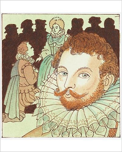 Media Storehouse 10x8 Print of Illustration of portrait of Sir Francis Drake and his knighthood by Queen (Francis Drake Costume)