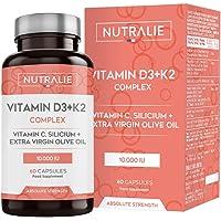 Vitamina D3 10.000 UI + K2 MK7 Alta Dosis | Contribuye al Sistema Inmunitario, Huesos y…