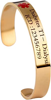 Dolceoro Medical Alert Medical ID Bracelet Cuff 12mm Wide Personalize IT 316L Stainless Steel