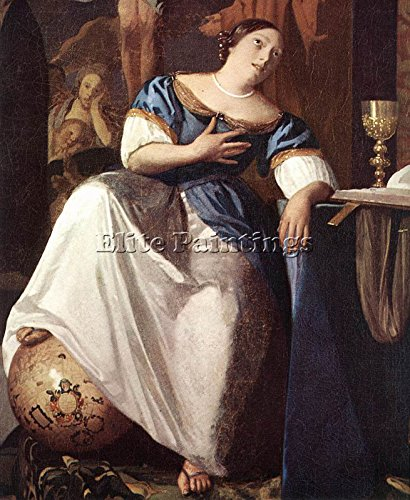 VERMEER ALLEGORY FAITH DETAIL1 ARTIST PAINTING REPRODUCTION HANDMADE OIL CANVAS 48x40inch MUSEUM QUALITY by Elite-Paintings