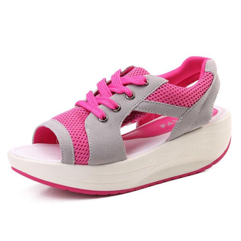Frauen Mesh Casual Shake Schuhe 2018 Neue Muffin Bottom Sandalen Dicke Bottom Slope Mit Atmungsaktive Shaking Schuhe Damen Mesh Bequeme Turnschuhe Casual Sandalen  40|Rosa