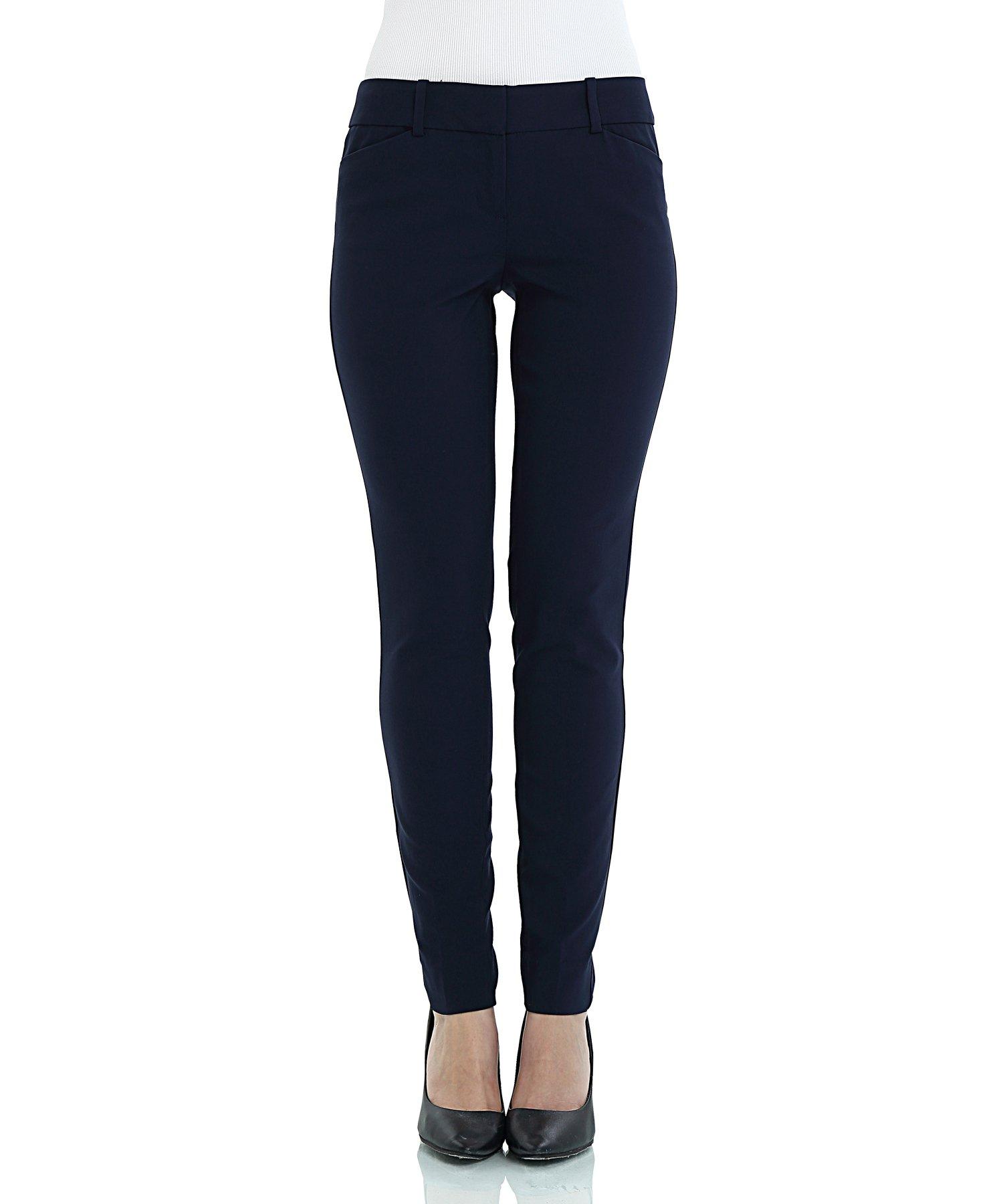 SATINATO Women's Stretch Pants Slim Fit Trousers Navy Blue