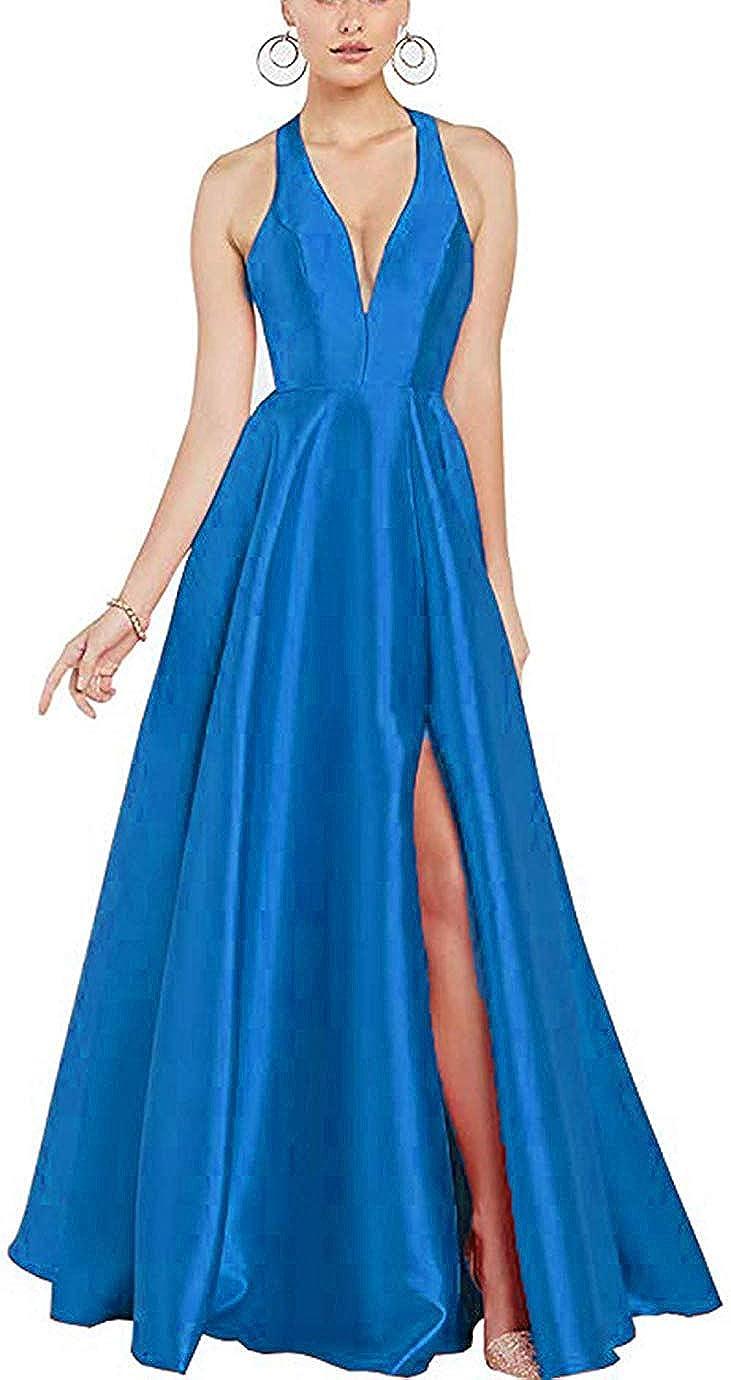 bluee ZLQQ Women's Halter VNeck Backless Prom Dresses Long Side Slit Evening Formal Party Gown