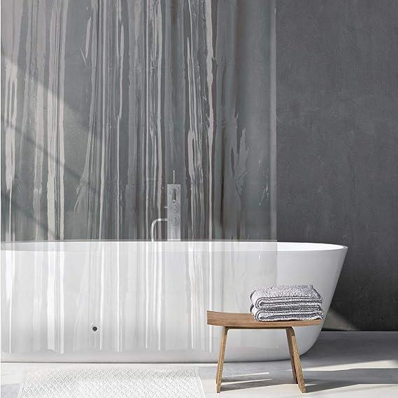 mDesign Juego de 2 Cortinas ducha de PEVA – Cortina de baño libre de PVC con 12 ojales reforzados – Cortina bañera – transparente: Amazon.es: Hogar
