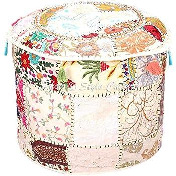 Amazon Com Stylo Culture Decorative Pouffe Seat Cover