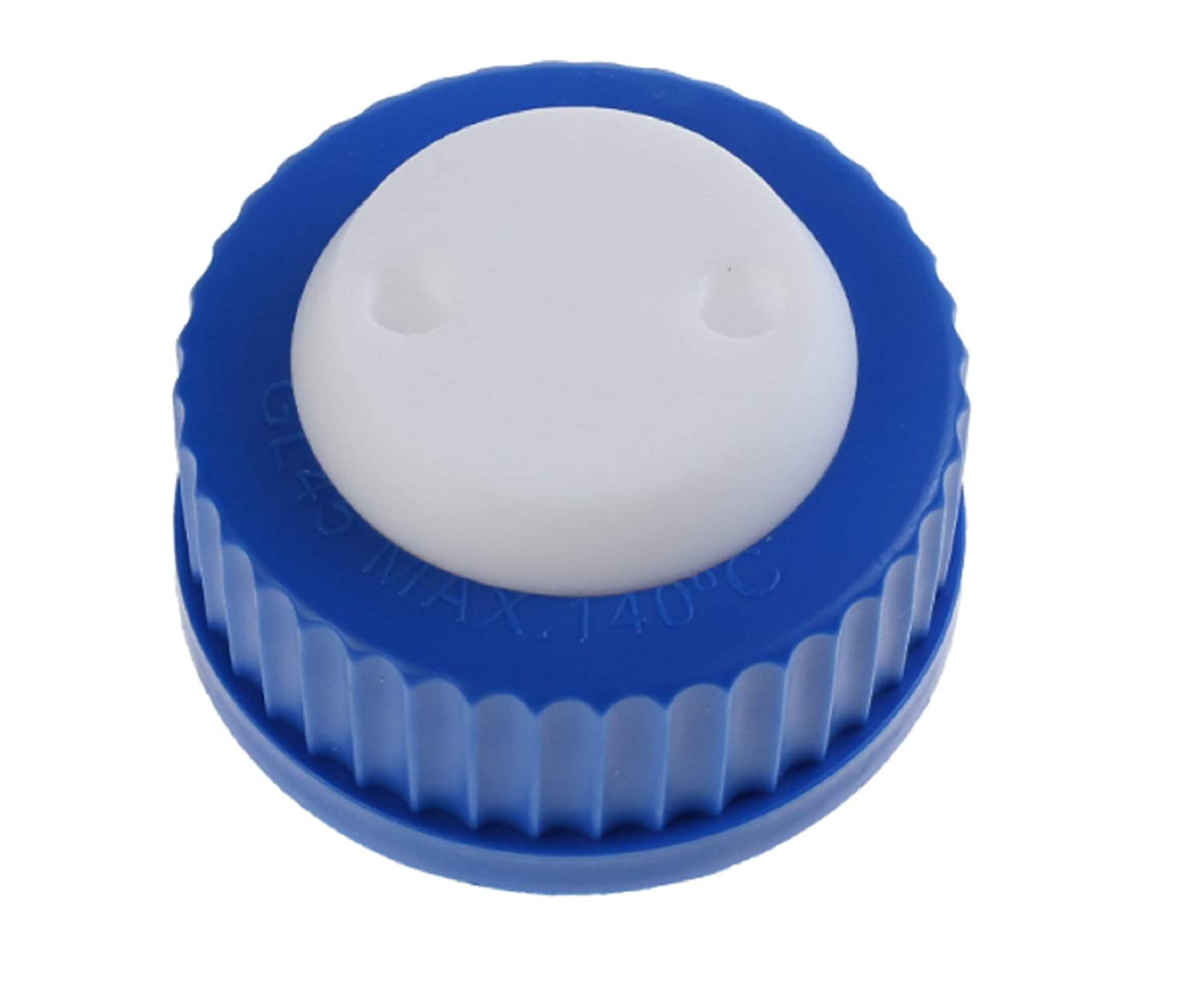 Bottle Adapter GL-45 Cap Fitting Feed Pack of 5 Sets Blue GL45 Safety Cap with Two Holes for 1//8 Inch OD Tubing Bottle Cap Assembly