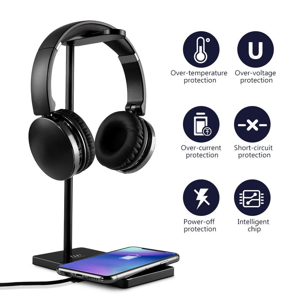 Headphone Stand, Siroflo Universal Aluminum Headphone Stand with Wireless Charger,Support Casque for All Headphones - Black