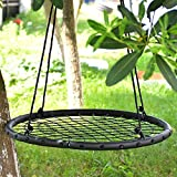 IMAGE Spider Web Swing Tree swing Net Swing Platform Rope swing Nylon Rope detachable 40 inch diameter with carabiners Adjustable hanging ropes