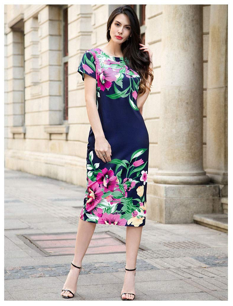 color3 CARRY Dress, European and American Comfortable Soft Cocktail Dress Sexy Step Skirt Print Bag Hip Skirt Professional Dress Dress (color   color2, Size   XL)