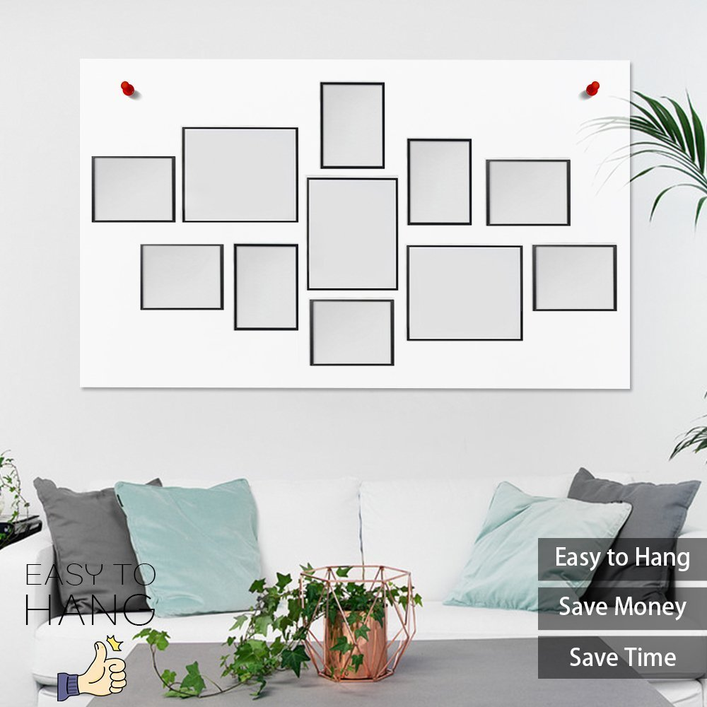 WOOD MEETS COLOR Picture Frames with Really Glass Photo Frames Set of 11 Wall Mounting Collage Frames Eco-Friendly Family Photo Frame (White)