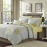 Madison Park Essentials Avalon Twin Size Quilt Bedding Set - Grey, Yellow, Floral – 6 Piece Bedding Quilt Coverlets – Ultra Soft Microfiber Bed Quilts Quilted Coverlet