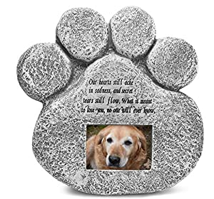 Paw Print Pet Memorial Stone Indoor Outdoor Plaque Picture Frame Shaped Grave Marker Tombstone Cat or Dog Tribute Poem for Garden Yard