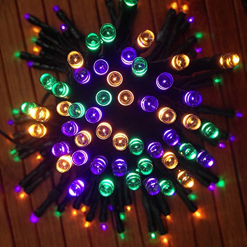 multi colored solar string lights in orange purple and green 100 mini led set