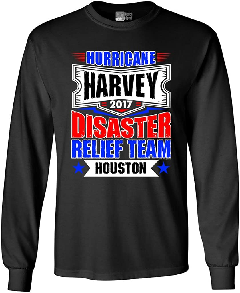 Long Sleeve Adult T-Shirt Hurricane Harvey Disaster Relief Team Houston 2017 DT