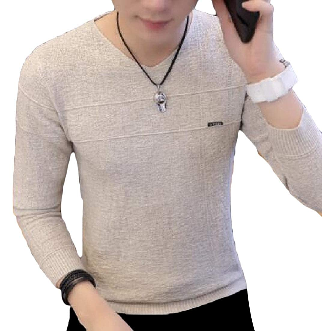 ouxiuli Men Knitted Pullover Crewneck Simple Winter Casual Sweaters