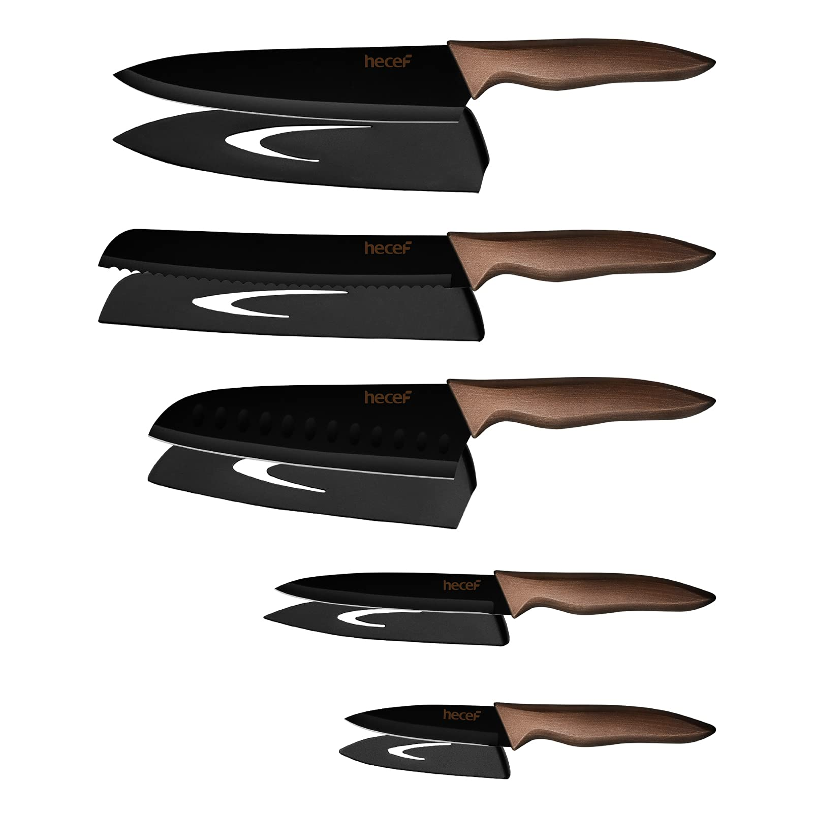 hecef Kitchen Knife Set,Stainless Steel Super Sharp Blade Chef Knife Set with Black Color Coating,Includes Chef,Bread,Santoku,Utility and Paring Knife with 5 Extra Matching Blade Guards